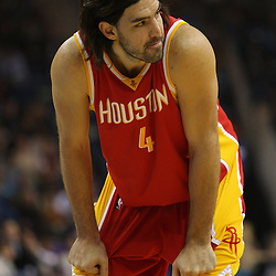 Jan 02, 2010; New Orleans, LA, USA; Houston Rockets forward Luis Scola (4) on the court against the New Orleans Hornets during the first quarter at the New Orleans Arena. Mandatory Credit: Derick E. Hingle-US PRESSWIRE