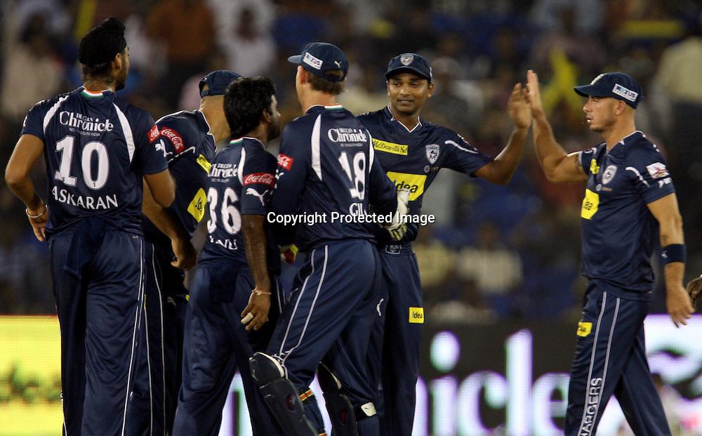 Deccan Chargers Player T. Suman Celebrates With Team Mates Kings XI Punjab Manvinder Bisla Wicket Manvinder Bisla Run Out By T. Suman During The DLF IPL-3 Twenty-20 Played at- Barabati Stadium , Cuttack 19 March 2010 Day/night