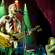 COLUMBIA, MD - September 15th, 2012 - Justin Vernon and C.J. Camerieri of Bon Iver perform at Merriweather Post Pavilion in Columbia, MD. The group graduated from large clubs to amphitheatres on the success of their second, self-titled album. (Photo by Kyle Gustafson/For The Washington Post)