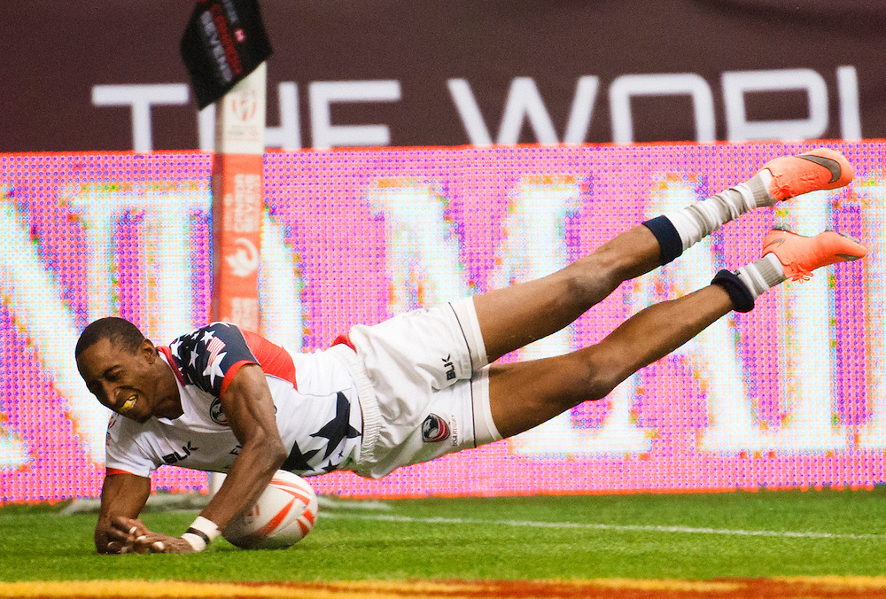 Perry Baker of the United States sees his try disallowed for a dropped ball during the pool stages of the 2016 Canada Sevens leg of the HSBC Sevens World Series Series at BC Place in  Vancouver, British Columbia. Saturday March 12, 2016.<br /> <br /> Jack Megaw<br /> <br /> www.jackmegaw.com<br /> <br /> 610.764.3094<br /> jack@jackmegaw.com