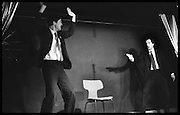 Nigel Planer and Peter Richardson  Performance of The Comic Strip,  Boulevard Theatre, next to the Raymond Revue, Walkers court , Soho. London. 1981