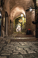 An Alleyway in the old city of Jaffa at night. Jaffa is the southern most part of Tel Aviv and the port is associated with many biblical stories.