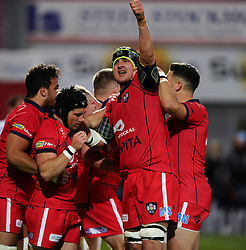 Bristol Rugby replacement Matthew Morgan celebrates his  try with Bristol Rugby Lock Mark Sorenson and Bristol Rugby Flanker Marco Mama  - Photo mandatory by-line: Joe Meredith/JMP - Mobile: 07966 386802 - 27/05/2015 - SPORT - Rugby - Worcester - Sixways Stadium - Worcester Warriors v Bristol Rugby - Greene King IPA Championship