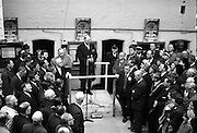 10/04/1966<br /> 04/10/1966<br /> 10 April 1966<br /> 1916 Jubilee Commemorations-  Opening of Kilmainham Jail Historical Museum, Dublin. Picture shows a view of President Eamon de Valera officially opening the museum. The cells of the jail can be seen in the background.