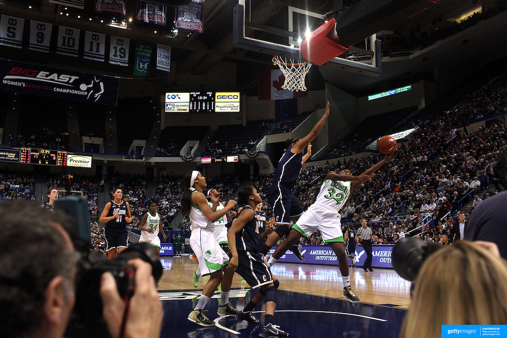 Jewell Loyd, Notre Dame, shoots during the Connecticut V Notre Dame Final match won by Notre Dame during the Big East Conference, 2013 Women's Basketball Championships at the XL Center, Hartford, Connecticut, USA. 11th March. Photo Tim Clayton