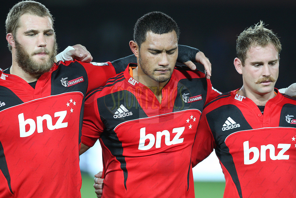 Crusaders players listen to the last post.Crusaders v Highlanders, Investec Super Rugby, Trafalgar Park, Nelson. 23 April 2011. Photo: Evan Barnes/photosport.co.nz