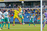 Oxford United defender Curtis Nelson (5) involved in a goal mouth scramble during the EFL Sky Bet League 1 match between Oxford United and Plymouth Argyle at the Kassam Stadium, Oxford, England on 13 October 2018.
