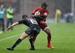 Maliq Holden of Bristol United is tackled by Harry Strong of Exeter Braves  - Mandatory by-line: Gary Day/JMP - 09/09/2017 - RUGBY - Sandy Park Stadium - Exeter, England - Exeter Braves v Bristol United - Aviva A League