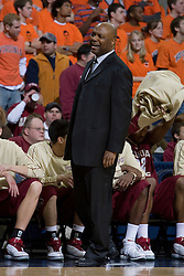 Florida State Seminoles Head Coach Leonard Hamilton along the sidelines against Virginia.  The Virginia Cavaliers Men's Basketball Team defeated the Florida State Seminoles 73-70 at the John Paul Jones Arena in Charlottesville, VA on February 17, 2007.