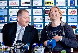 Ernest Aljancic of HZS and Tomaz Vnuk at the press conference due to the end of the career of Slovenian ice-hockey player Tomaz Vnuk,  on October 05, 2009, in Hala Tivoli, Ljubljana, Slovenia.   (Photo by Vid Ponikvar / Sportida)
