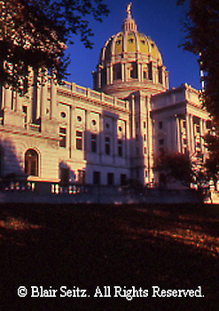 PA Capitol, Joseph, Huston, Architect, from Northwest, Harrisburg, Pennsylvania