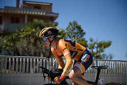 Megan Guarnier begins Stage 5 of the Giro Rosa - a 12.7 km individual time trial, starting and finishing in Sant'Elpido A Mare on July 4, 2017, in Fermo, Italy. (Photo by Sean Robinson/Velofocus.com)