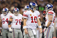 28 November 2011: Quarterback (10) Eli Manning of the New York Giants calls timeout and walks to the sidelins against the New Orleans Saints during the first half of the Saints 49-24 victory over the Giants at the Mercedes-Benz Superdome in New Orleans, LA.