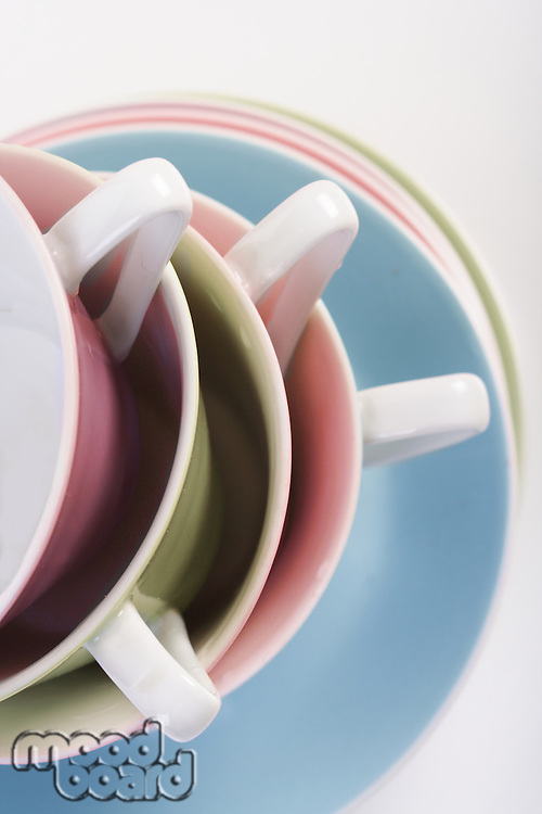 Close up of empty cups in stack