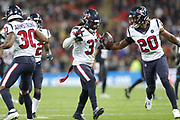 Houston Texans Defensive Back Jahleel Addae (37) Houston Texans Defensive Back Justin Reid (20) Houston Texans Defensive Back Cornell Armstrong (30) celebration after a pick off during the International Series match between Jacksonville Jaguars and Houston Texans at Wembley Stadium, London, England on 3 November 2019.