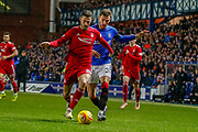 Dominic Ball of Aberdeen FC holds off Borna Barisic during the William Hill Scottish Cup quarter final replay match between Rangers and Aberdeen at Ibrox, Glasgow, Scotland on 12 March 2019.