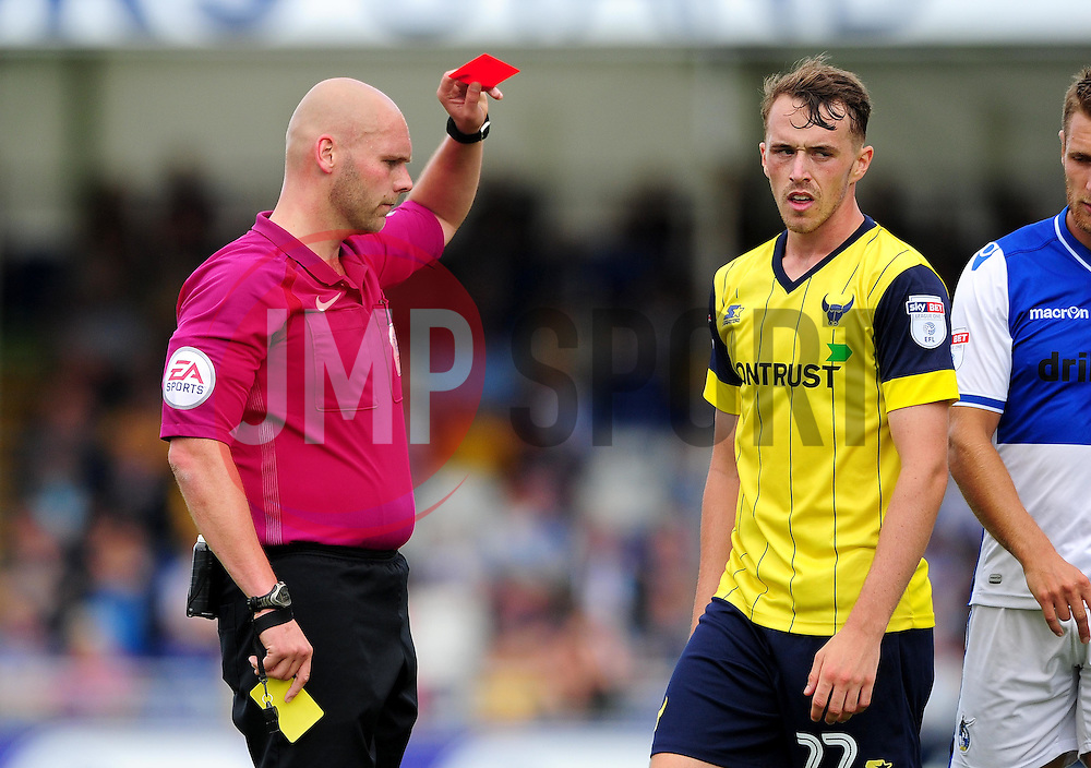 Sam Long of Oxford United is shown a red card - Mandatory by-line: Dougie Allward/JMP - 14/08/2016 - FOOTBALL - Memorial Stadium - Bristol, England - Bristol Rovers v Oxford United - Sky Bet League One