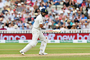 Virat Kohli (captain) of India watches the ball bounce up next to him after playing a shot during second day of the Specsavers International Test Match 2018 match between England and India at Edgbaston, Birmingham, United Kingdom on 2 August 2018. Picture by Graham Hunt.