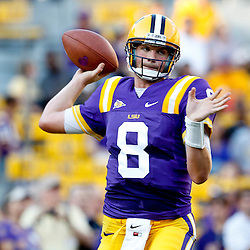 September 10, 2011; Baton Rouge, LA, USA;  LSU Tigers quarterback Zach Mettenberger (8) prior to kickoff of a game against the Northwestern State Demons at Tiger Stadium.  Mandatory Credit: Derick E. Hingle