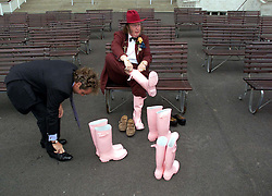 Channel four racing commentator's , John Francome  and John McCririck (hat) all sporting Thomas Pink wellington boots,2000. Photo By Andrew Parsons / i-Images