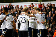 Tottenham players celebrate a goal from Tottenham Hotspur Forward Harry Kane (10) (score 2-0) during the Premier League match between Tottenham Hotspur and Everton at White Hart Lane Stadium, London, England on 5 March 2017. Photo by Andy Walter.