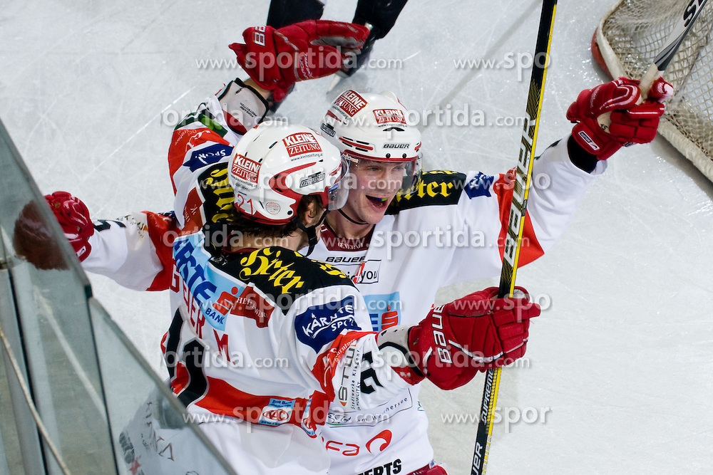 Manuel Geier (EC KAC, #21) and Paul Schellander (EC KAC, #15) celebrate goal during ice-hockey match between HDD Tilia Olimpija and EC KAC in 32nd Round of EBEL league, on December 30, 2010 at Hala Tivoli, Ljubljana, Slovenia. (Photo By Matic Klansek Velej / Sportida.com)