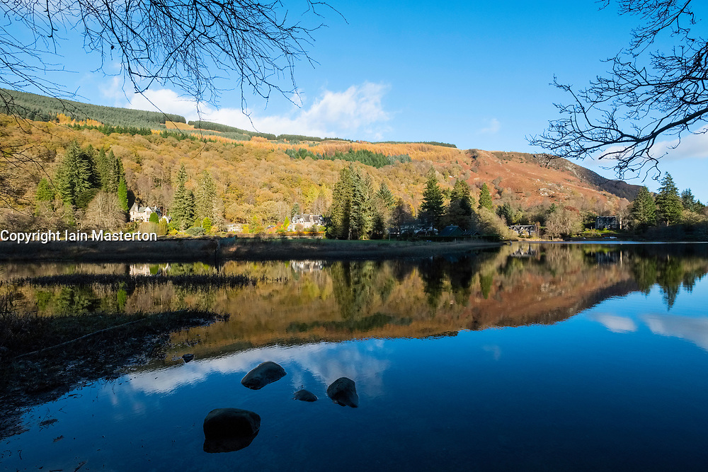 Autumn view of Little Loch Ard in Trossachs district of Scotland, United Kingdom.