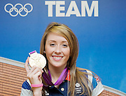 Olympics London 2012 <br /> Press Conference<br /> at Team GB House, Stratford, London, Great Britain <br /> <br /> Gold medalist <br /> in Women's Taekwondo  <br /> <br /> Jade Jones <br /> Olympic<br /> 57kg category.<br />  <br /> Jade Jones <br /> <br /> Photograph by Elliott Franks