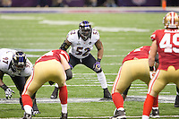 3 February 2013: Linebacker (52) Ray Lewis of the Baltimore Ravens lines up against the San Francisco 49ers during the first half of the Ravens 34-31 victory over the 49ers in Superbowl XLVII at the Mercedes-Benz Superdome in New Orleans, LA.