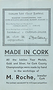 Munster Senior and Minor Hurling Championship Final, .11081935MSMHCF,..11.08.1935, 08.11.1935, 11th August 1935,.Senior Limerick v Tipperary,.Minor Tipperary v Cork,..M Roche, Jeweller Cork,
