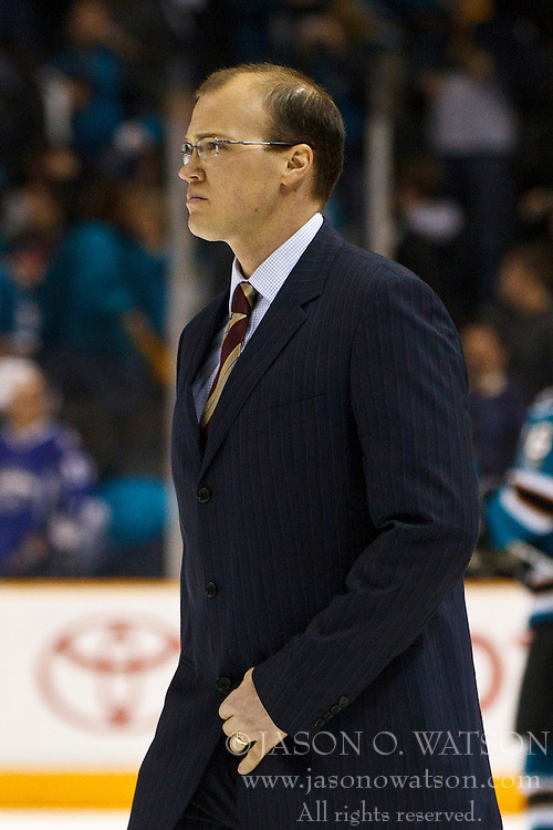 March 19, 2011; San Jose, CA, USA;  St. Louis Blues head coach Davis Payne walks across the ice to the locker room after the game against the San Jose Sharks at HP Pavilion. San Jose defeated St. Louis 5-3. Mandatory Credit: Jason O. Watson / US PRESSWIRE