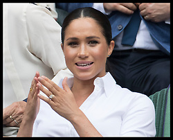 July 13, 2019 - London, London, United Kingdom - Image licensed to i-Images Picture Agency. 13/07/2019. London, United Kingdom. Kate Middleton, the Duchess of Cambridge ,Meghan Markle, the Duchess of Sussex and Pippa Middleton in the Royal Box for the Ladies Final on day twelve of the Wimbledon Tennis Championships in London. (Credit Image: © Stephen Lock/i-Images via ZUMA Press)