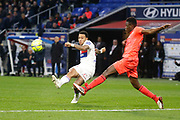 Memphis Depay of Lyon and Romain Genevois of Caen during the French Championship Ligue 1 football match between Olympique Lyonnais and SM Caen on march 11, 2018 at Groupama stadium in Decines-Charpieu near Lyon, France - Photo Romain Biard / Isports / ProSportsImages / DPPI