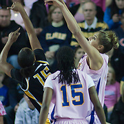02/05/12 Newark DE: Delaware Junior Forward #11 Elena Delle Donne blocks Senior Guard Andrea Barbour #15 shot attempt during a Colonial Athletic Association game against the VCU Lady Rams, Feb. 5, 2012 at the Bob carpenter center in Newark Delaware...Special to The News Journal/SAQUAN STIMPSON
