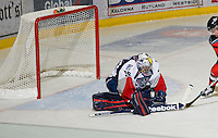 KELOWNA, CANADA, NOVEMBER 30: Ty Rimmer #35 of the Tri City Americans makes a save as the Tri City Americans visit the Kelowna Rockets  on November 30, 2011 at Prospera Place in Kelowna, British Columbia, Canada (Photo by Marissa Baecker/Shoot the Breeze) *** Local Caption *** Ty Rimmer;