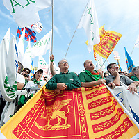 "Lega Nord rally today in Venice under the slogan ""Prima Il Nord""  (North First)  the Lega Nord with its new Secretary Roberto Maroni are trying to go back to their  1996 meeting in Venice with its original federalist credo"