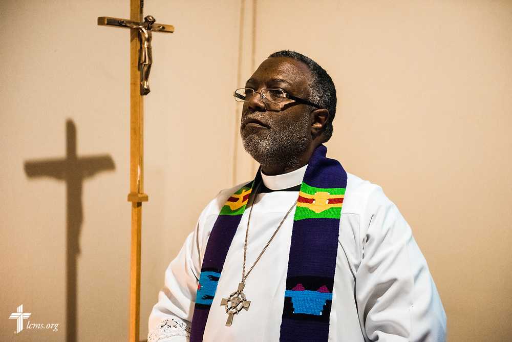 The Rev. Delwyn Campbell, LCMS national missionary to Gary, Ind., prepares for Lenten worship at St. John's Lutheran Church on Wednesday, April 5, 2017, in Gary. LCMS Communications/Erik M. Lunsford