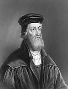 John Wycliffe (c1329-1384) English religious reformer.  Leader of the Lollards (Mumblers).  Questioned doctrine of transubstantiation. Organised translation of Bible into English.  Precursor of Protestant Reformation. Engraving 1882.