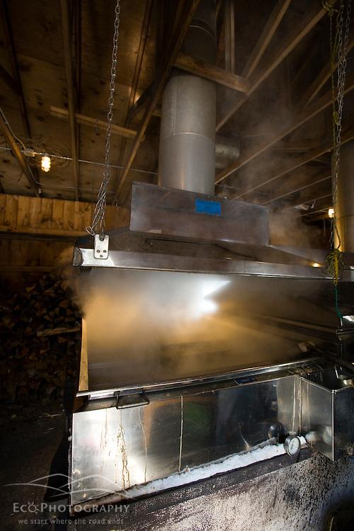 A sap evaporator in a sugar house in Barrington, New Hampshire.  The Sugar Shack.