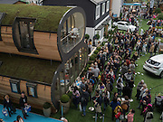 ON LEFT: THE ARC BY GREEN UNIT IS AN ECO FRINDLY MODULar space I Ideal Home Show, sponsored by Zoopla, Olympia. London. 19 March 2016