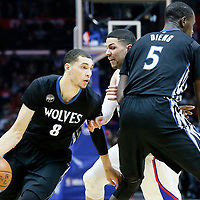 03 February 2016: Minnesota Timberwolves guard Zach LaVine (8) drives past Los Angeles Clippers guard Austin Rivers (25) on a screen set by Minnesota Timberwolves center Gorgui Dieng (5) during the Minnesota Timberwolves 108-102 victory over the Los Angeles Clippers, at the Staples Center, Los Angeles, California, USA.