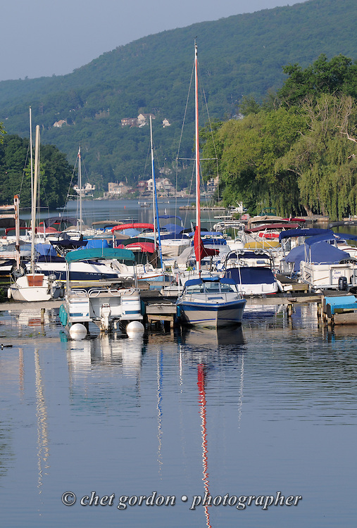 Sailboats and pleasure boats moored in Greenwood Lake, NY on Tuesday, June 25, 2013.  © Chet Gordon/THE IMAGE WORKS