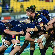 Highlanders maul during the super rugby union  game between Hurricanes  and Highlanders, played at Westpac Stadium, Wellington, New Zealand on 24 March 2018.  Hurricanes won 29-12.