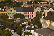 Aerial view of Rainbow Row Charleston, South Carolina.