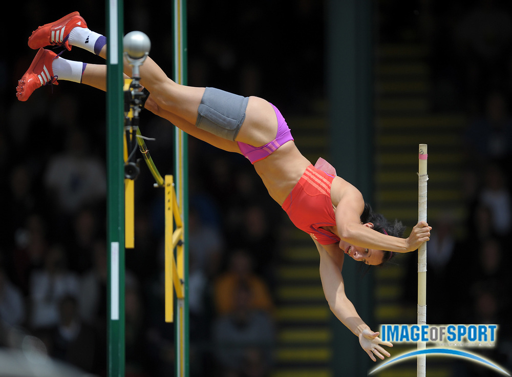 Jun 24, 2012; Eugene, OR, USA; Jenn Suhr wins the womens pole vault at 15-1 (4.60m) in the 2012 U.S. Olympic Team Trials at Hayward Field.