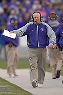 Kansas State head coach Bill Snyder works the sidelines during the first half against Missouri at Bill Snyder Family Stadium in Manhattan, Kansas, November 19, 2005.  K-State defeated the Missouri Tigers 36-28.