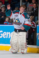 KELOWNA, CANADA - JANUARY 22: Jordon Cooke #30 of the Kelowna Rockets salutes fans as he accepts the third star of the game award against the Everett Silvertips on January 22, 2014 at Prospera Place in Kelowna, British Columbia, Canada.   (Photo by Marissa Baecker/Getty Images)  *** Local Caption *** Jordon Cooke;