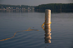 Yellow Rope and Unoccupied Public Moorage Piling Off Ram Island with Castine in the Distance, Penobscot Bay, Maine, US