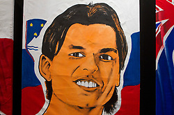 Painting of Zlatko Dedic of Slovenia at Adidas central for FIFA World Cup 2010 on June 30, 2010 at Nelson Mandela Square in Sandton Convention Centre in Johannesburg. (Photo by Vid Ponikvar / Sportida)