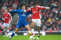 LONDON, ENGLAND - Saturday, January 9, 2010: Everton's Marouane Fellaini and Arsenal's Abou Diaby during the Premiership match at the Emirates Stadium. (Photo by David Rawcliffe/Propaganda)